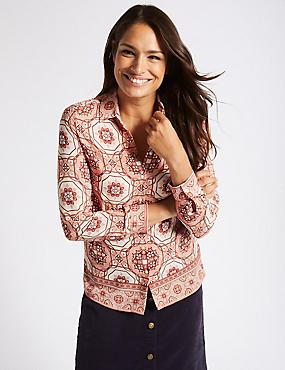 Printed Long Sleeve Shirt, PINK MIX, catlanding