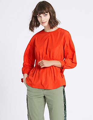 Tie Sleeve Round Neck Blouse, ORANGE, catlanding