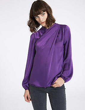 Round Neck Long Sleeve Shell Top, DEEP PURPLE, catlanding