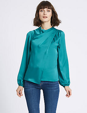 Round Neck Long Sleeve Shell Top, PEACOCK, catlanding