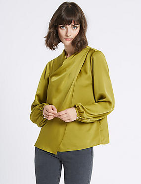 Round Neck Long Sleeve Shell Top, VERDIGRIS, catlanding