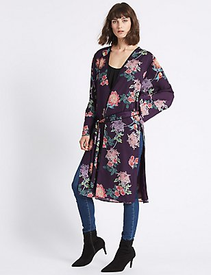 Floral Print Longline Long Sleeve Kimono Top, PURPLE MIX, catlanding