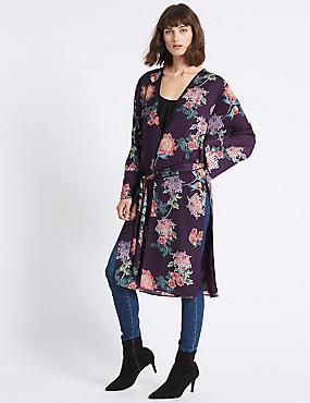 Floral Print Longline Long Sleeve Kimono Top, PURPLE MIX, catlanding