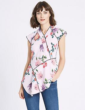 Floral Oriental Print Cap Sleeve Shell Top, PINK MIX, catlanding
