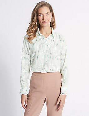 Striped Crepe Long Sleeve Shirt, CREAM MIX, catlanding