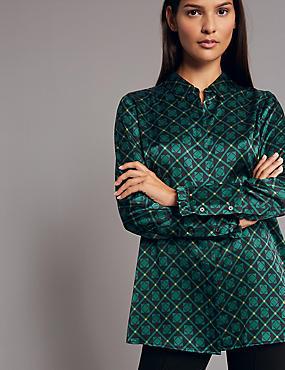 Pure Silk Printed Frill Cuff Shirt, NAVY MIX, catlanding