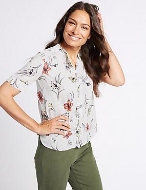 Floral Print Short Sleeve Shirt, IVORY MIX, catlanding