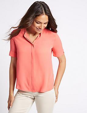 Hidden Placket Short Sleeve Shirt, PINK, catlanding