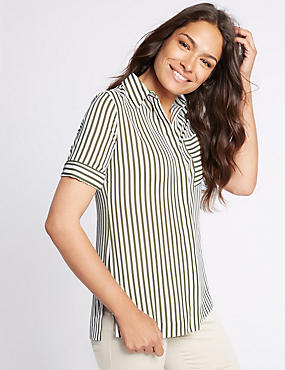 Striped Longline Short Sleeve Shirt, KHAKI, catlanding