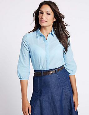 Pure Cotton Hidden Placket 3/4 Sleeve Shirt , BLUE, catlanding