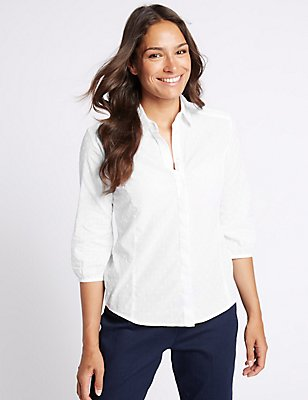 Pure Cotton Hidden Placket 3/4 Sleeve Shirt , WHITE, catlanding