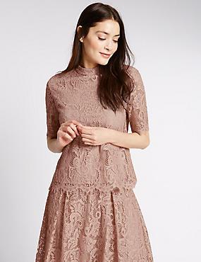 Cotton Blend Lace Short Sleeve Shell Top, BLUSH, catlanding