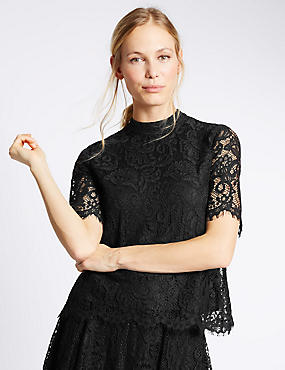Cotton Blend Lace Short Sleeve Shell Top, BLACK, catlanding