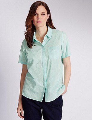 Pure Cotton Dobby Spotted Shirt, MINT, catlanding