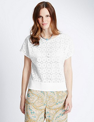 Pure Cotton Broderie Blouse, WHITE, catlanding