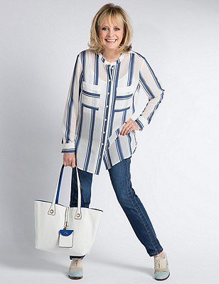 Twin Pockets Striped Blouse, BLUE MIX, catlanding