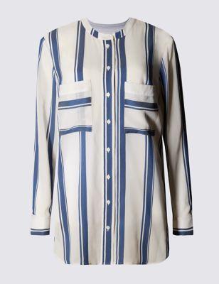 Свободная блузка в широкую полоску с 2 карманами