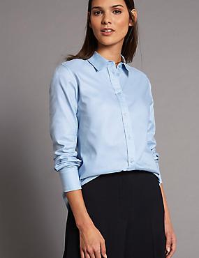 Pure Cotton Long Sleeve Shirt, LIGHT BLUE, catlanding