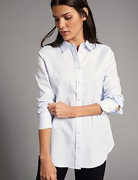 Pure Cotton Long Sleeve Shirt, BLUE MIX, catlanding