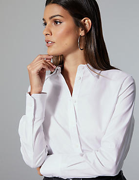 Pure Cotton Long Sleeve Shirt, SOFT WHITE, catlanding