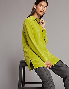 Pure Silk Longline Long Sleeve Shirt, CHARTREUSE, catlanding
