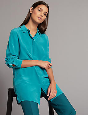Pure Silk Longline Long Sleeve Shirt, KINGFISHER, catlanding