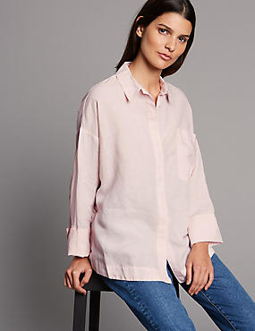 Linen Rich Long Sleeve Shirt , LIGHT PINK, catlanding