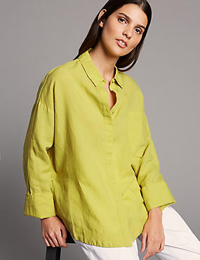 Linen Rich Long Sleeve Shirt , WINTER LIME, catlanding