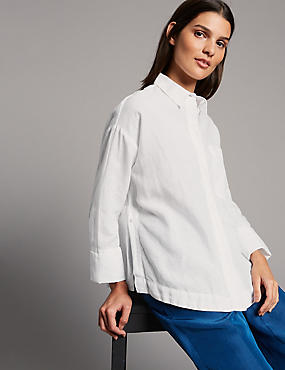 Linen Rich Long Sleeve Shirt , SOFT WHITE, catlanding