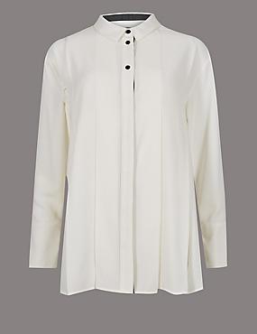 Placket Pleated Long Sleeve Shirt, IVORY, catlanding