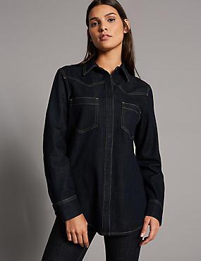 Cotton Rich Long Sleeve Shirt, DENIM, catlanding