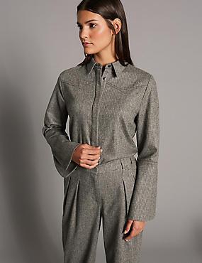 Split Cuff Long Sleeve Tweed Shirt, BROWN MIX, catlanding