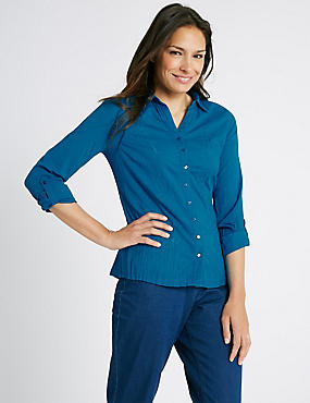 Pure Cotton Crinkle 3/4 Sleeve Shirt, TURQUOISE, catlanding