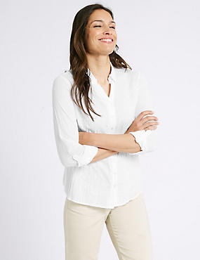 Pure Cotton Crinkle 3/4 Sleeve Shirt, WHITE, catlanding