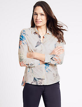 Cotton Silk Printed Long Sleeve Shirt, CREAM, catlanding