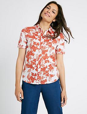 Pure Cotton Floral Print Short Sleeve Shirt, TERRACOTTA MIX, catlanding