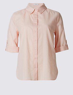 Pure Cotton Short Sleeve Shirt, PINK, catlanding