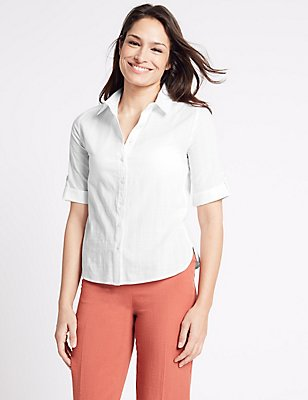 Pure Cotton Short Sleeve Shirt, WHITE, catlanding