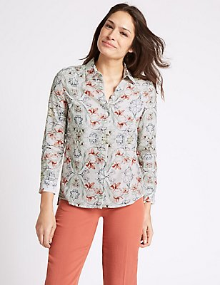 Cotton Silk Floral Print Long Sleeve Shirt, PINK, catlanding