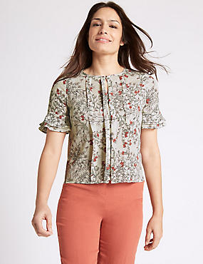 Floral Print Round Neck Half Sleeve Blouse, TERRACOTTA, catlanding