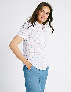 Pure Cotton Printed Short Sleeve Shirt, SOFT WHITE, catlanding