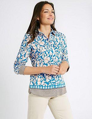Cotton & Silk Blend Printed Shirt, TURQUOISE, catlanding