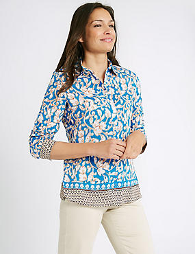 Cotton & Silk Blend Printed Shirt, TURQUOISE, catlanding