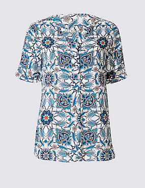 Floral Print Notch Neck Short Sleeve Blouse, TURQUOISE MIX, catlanding