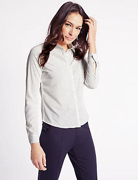 Spotted Fuller Bust Long Sleeve Shirt, IVORY MIX, catlanding