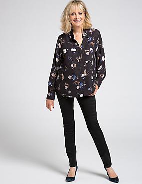 Floral Animal Print Long Sleeve Shirt, NAVY MIX, catlanding