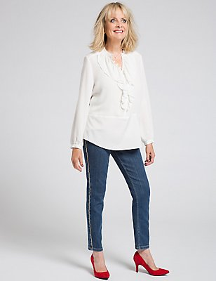 Ruffle Round Neck Long Sleeve Blouse, IVORY, catlanding