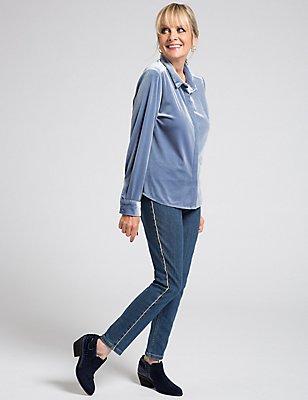 Velvet Long Sleeve Shirt, , catlanding