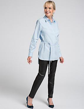 Pure Cotton Long Sleeve Longline Shirt, CHAMBRAY, catlanding