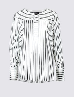 Pure Cotton Striped Long Sleeve Blouse  , WHITE MIX, catlanding